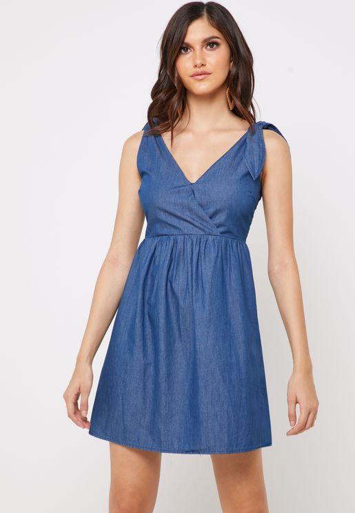 Tie Shoulder Denim Dress