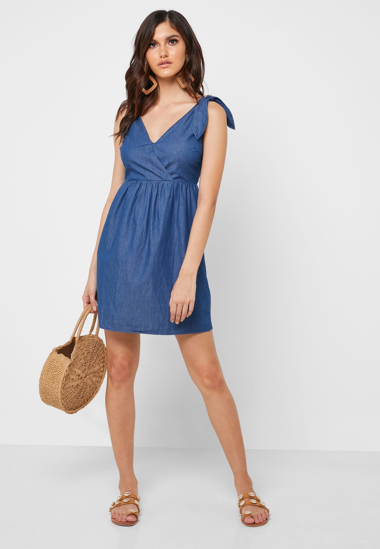Tie Shoulder Denim Dress