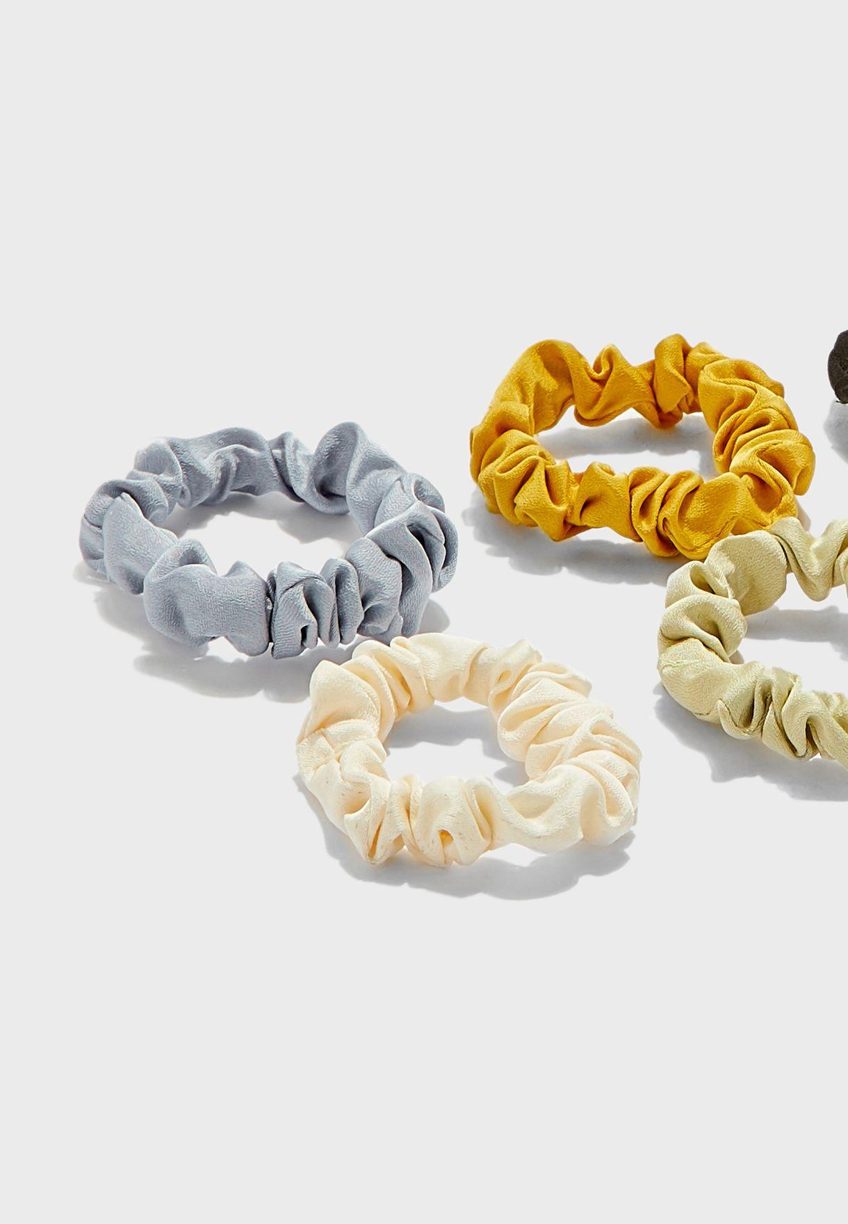 Pack Of 5 Mini Satin Scrunchies