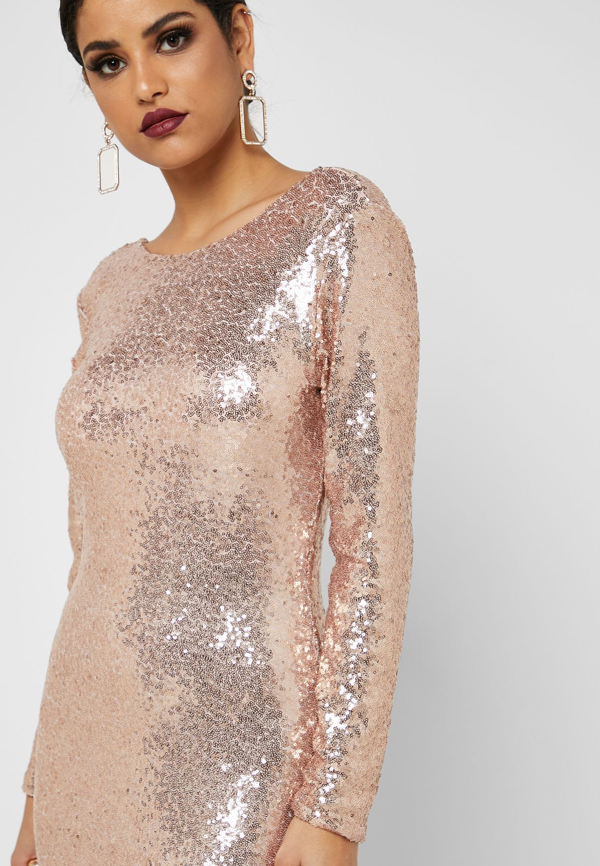 Sequin Low Back Maxi Dress