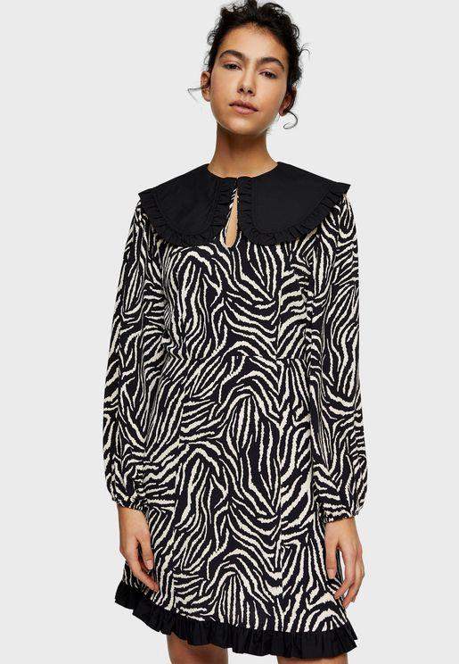 Zebra Print Oversized Collar Mini Tea Dress