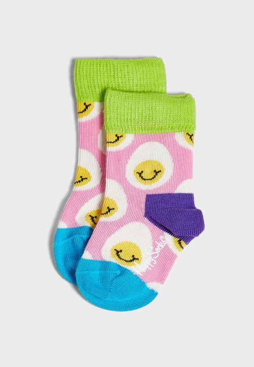 Kids Smile Egg Crew Socks