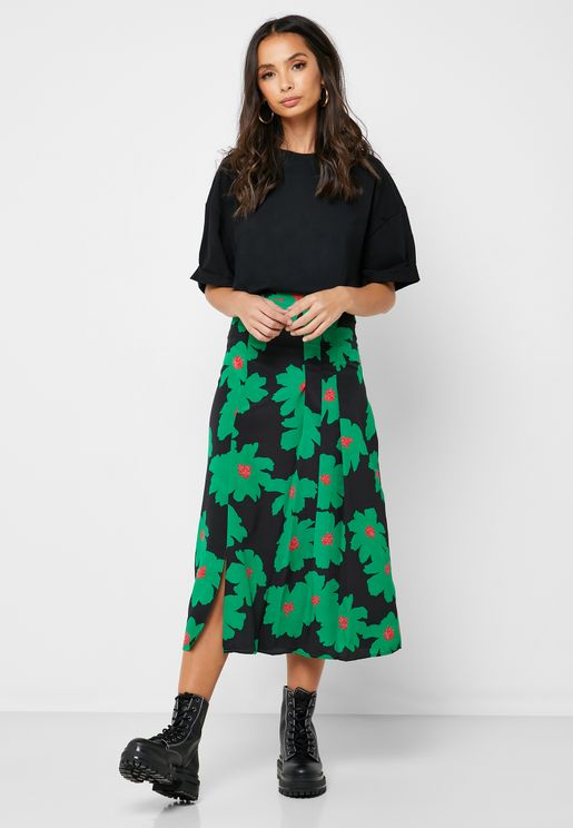Pleated Floral Print Skirt