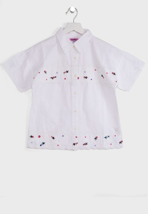 Natilene Regular Fit Casual Shirt With Embroidered Detail