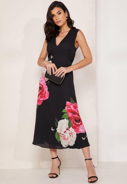 Magnificent Floral Print Tie Neck Dress