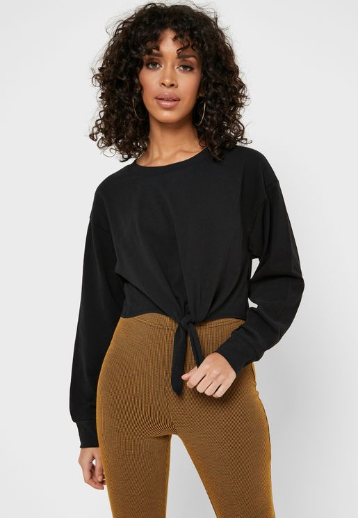 Front- Tie Crop Long Sleeve T-Shirt
