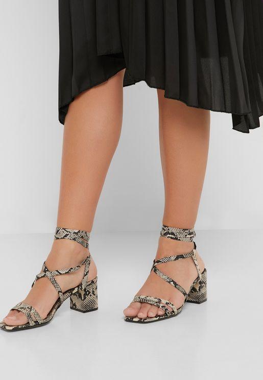 Multi Strap Mid Heel Sandal