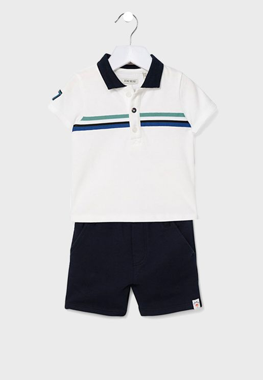 Kids Striped Polo + Shorts Set