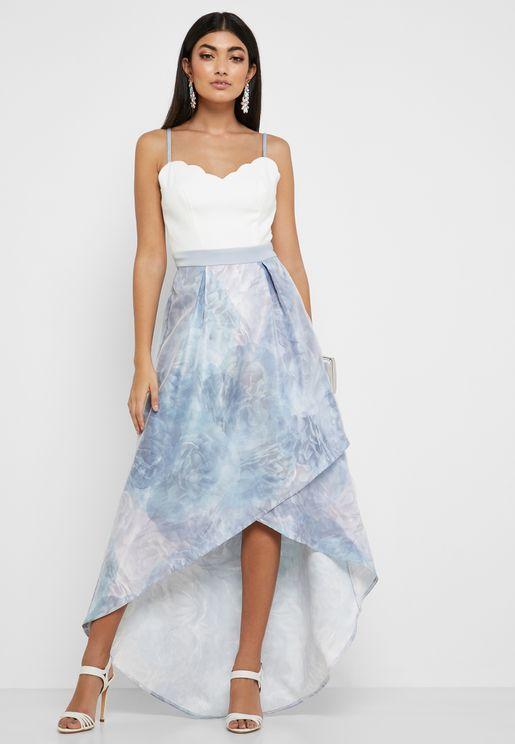 Scallop Edge High Low Dress