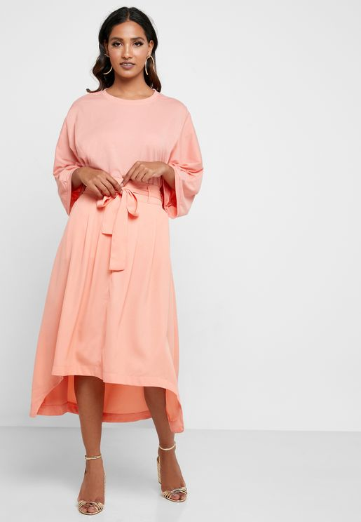 High Low Belted Dress