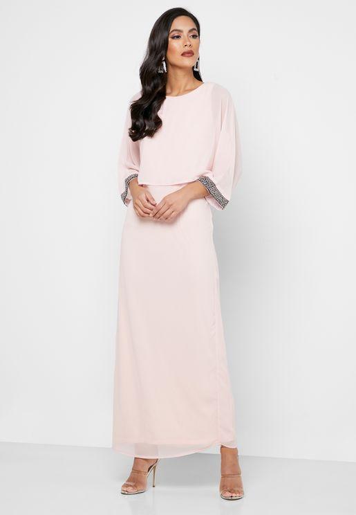 Embellished Sheer Sleeve Dress