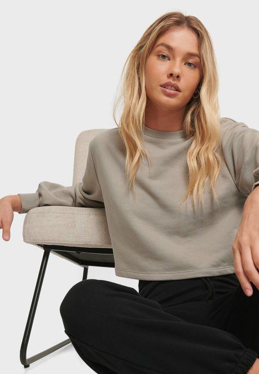 Volume Sleeves Crop Sweatshirt