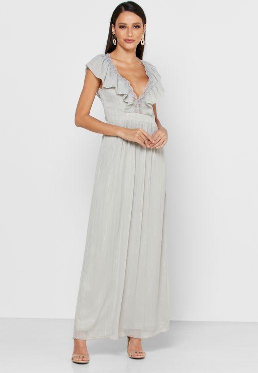 Lace Back Ruffle Trim Plunge Dress