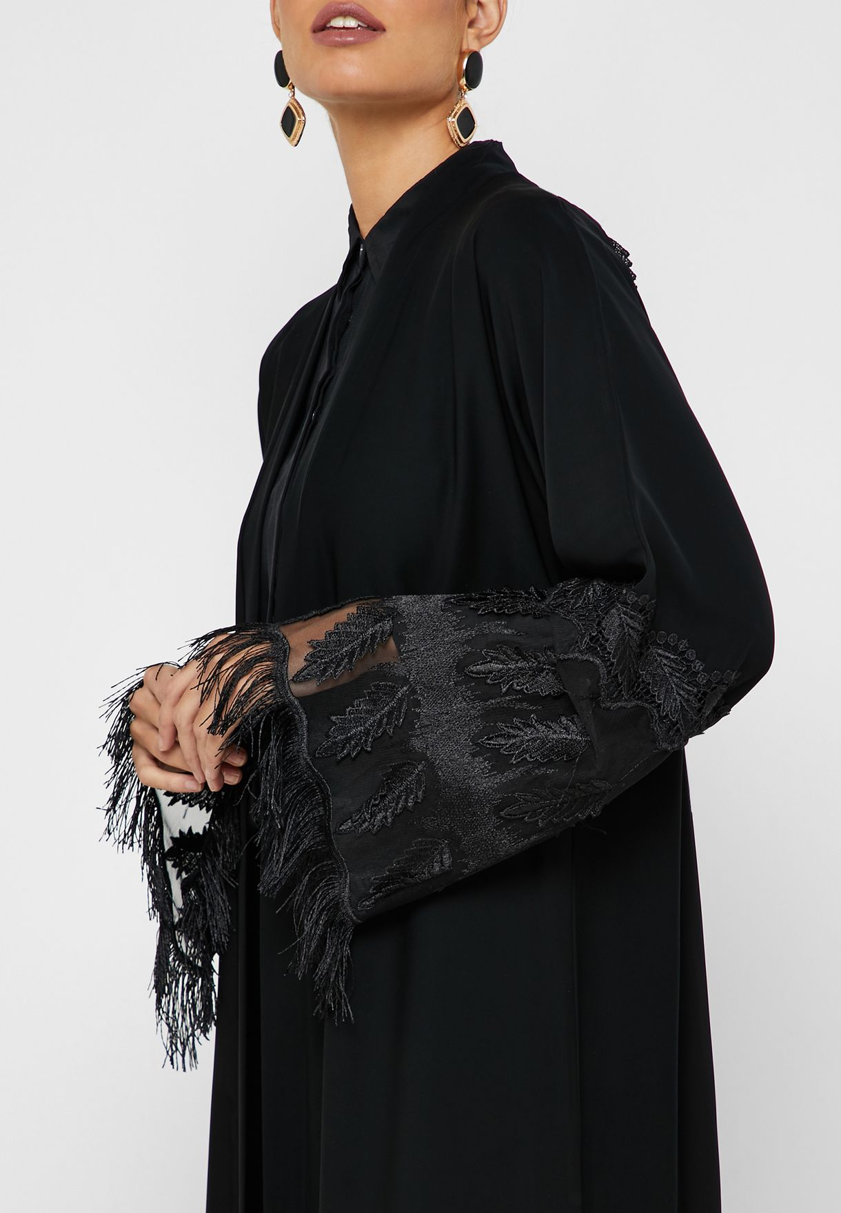 Back Pleated Embroidered Abaya