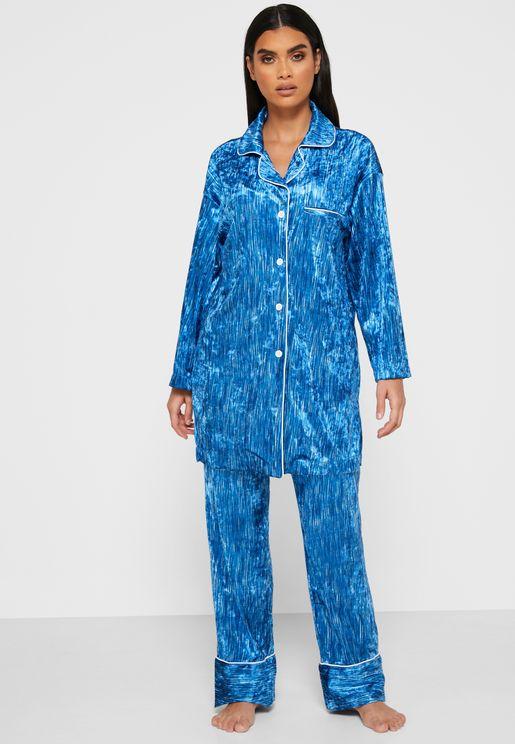 Textured Shirt Pyjama Set