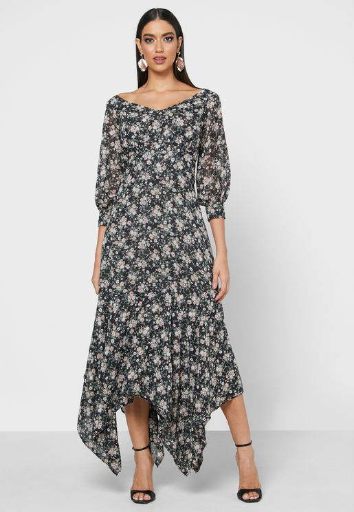Floral Print Asymmetric Dress