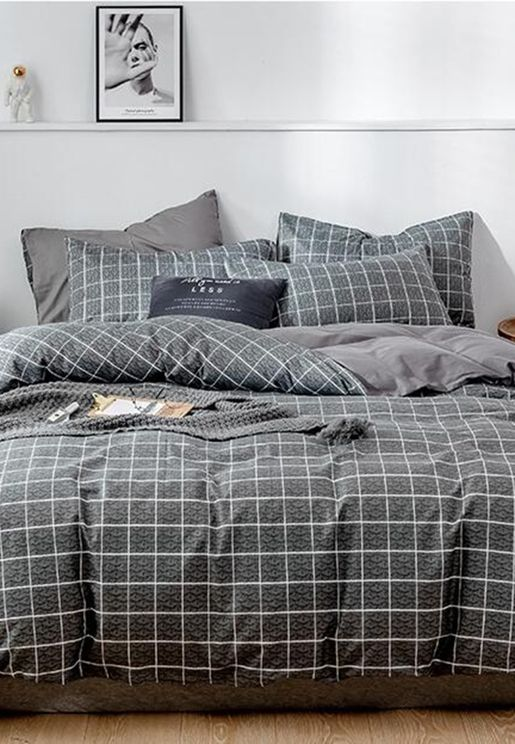 Grey Check Print Bedding Set - King 200X230Cm