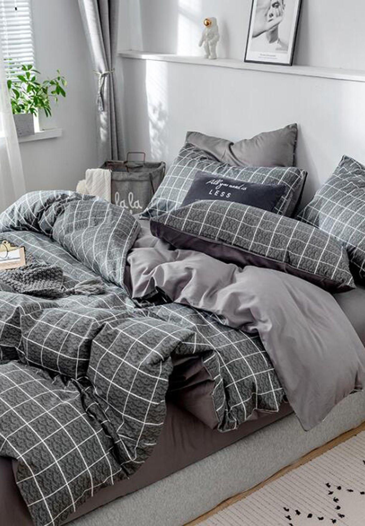 Grey Check Print Bedding Set - King 200X230Cm