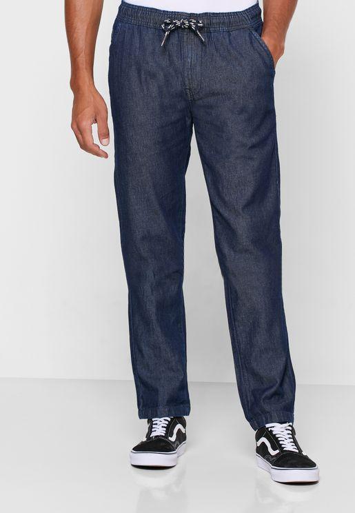 جينز بخصر مطاطي واربطة