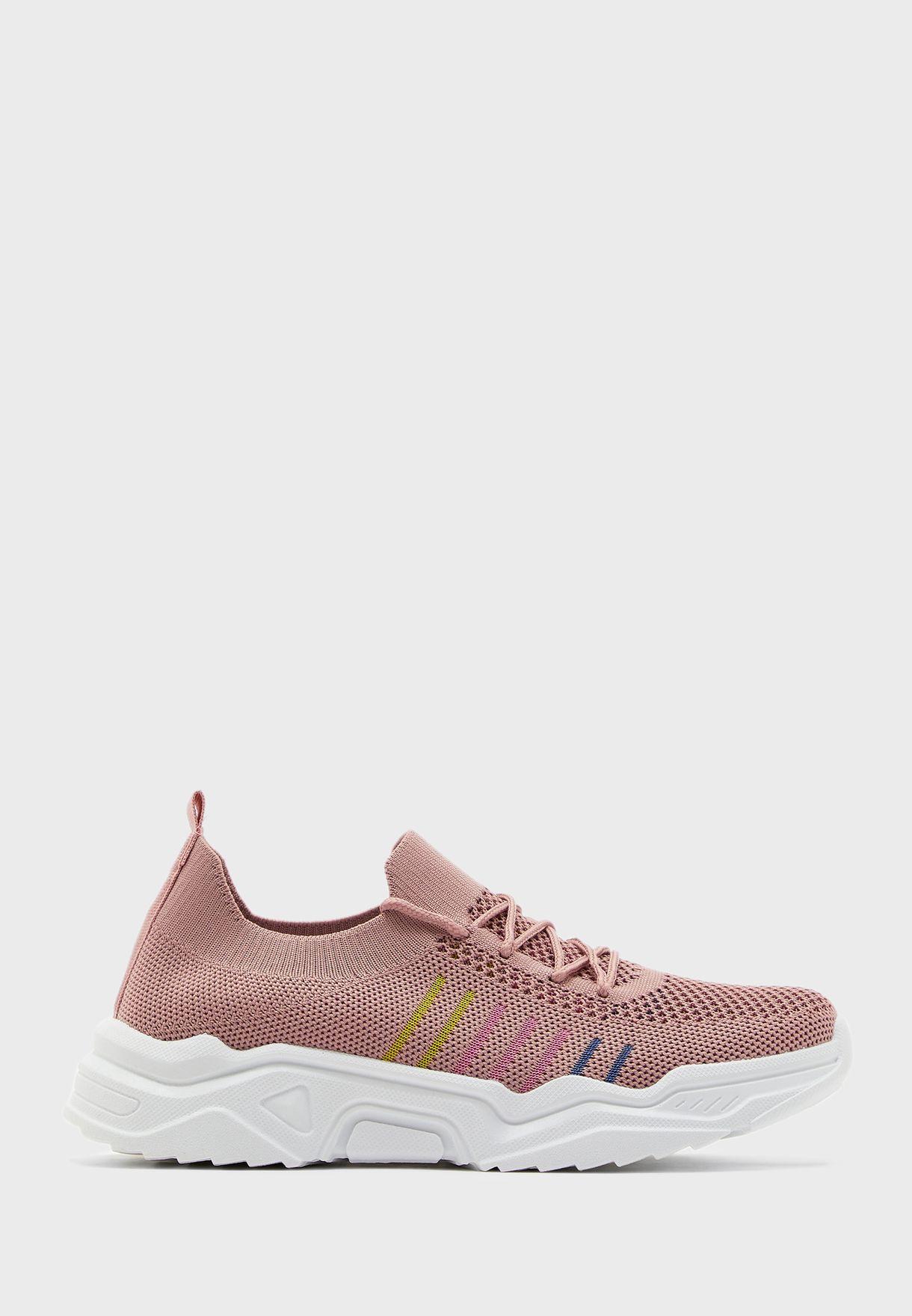 Rainbow Stripe Knit Sneakers