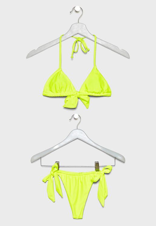 Jenna Halter Neck Tie Detail Bikini Set