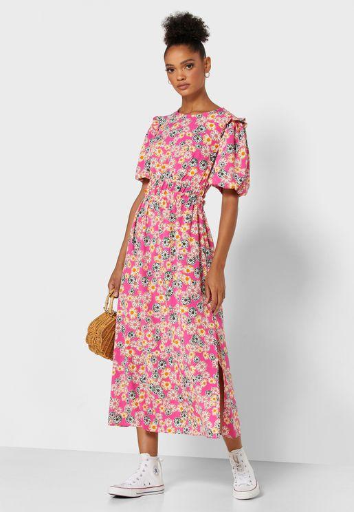 Floral Print Puff Sleeve Pleated Dress