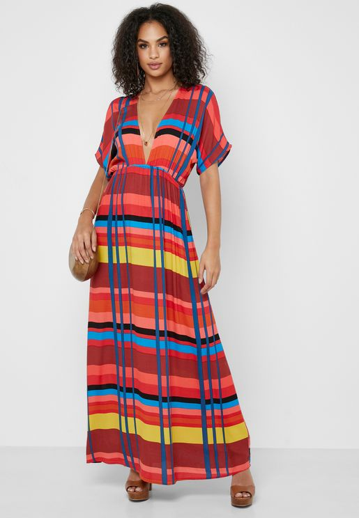Multicolor Plunge Maxi Dress