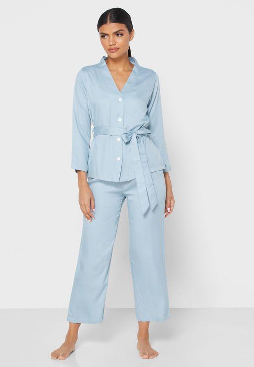 Self Tie Button Down Pyjama Set