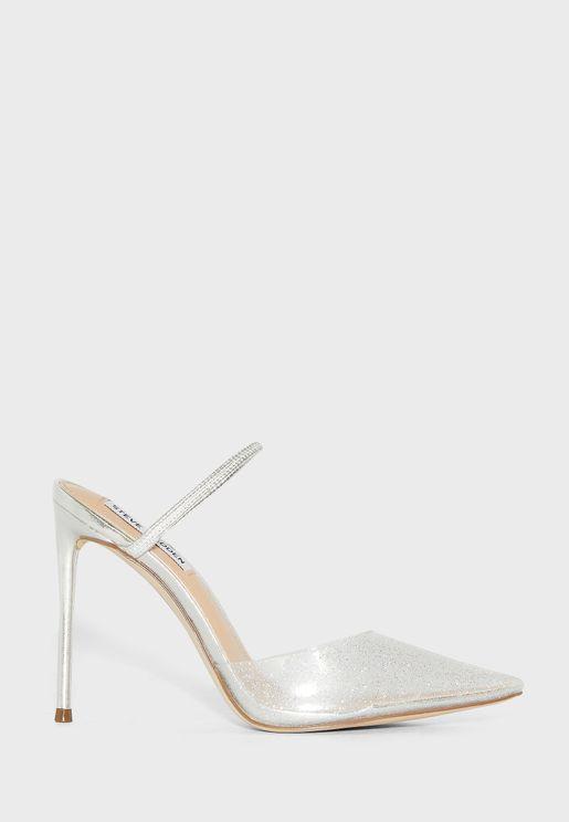 حذاء كعب شفاف بجليتر
