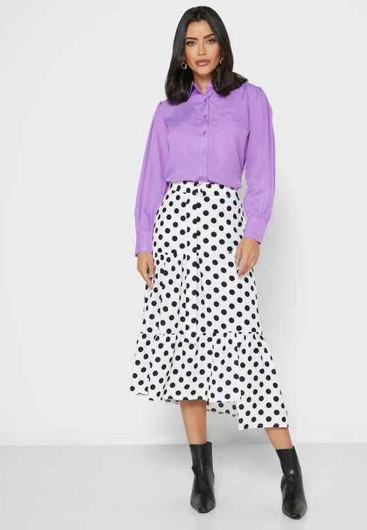 Polka Dot Ruffle Hem Belted Midi Skirt