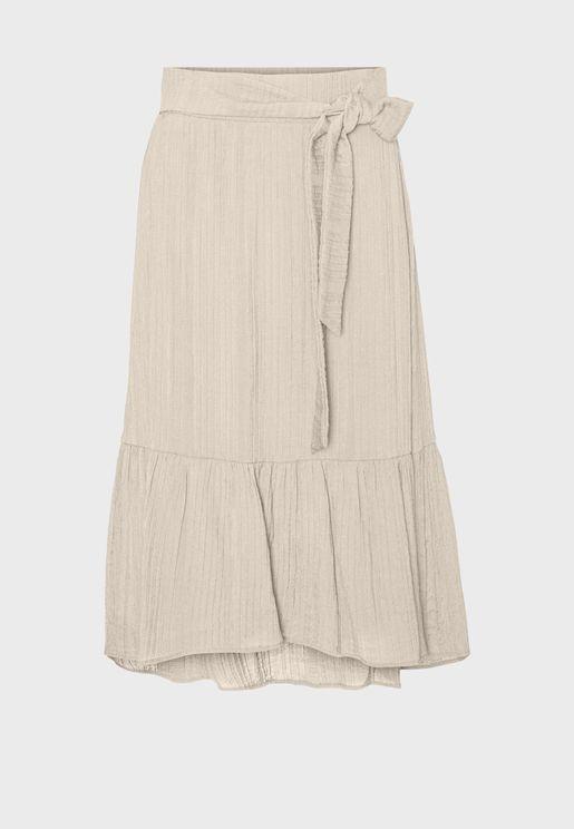 Side Tie Ruffle Hem Skirt