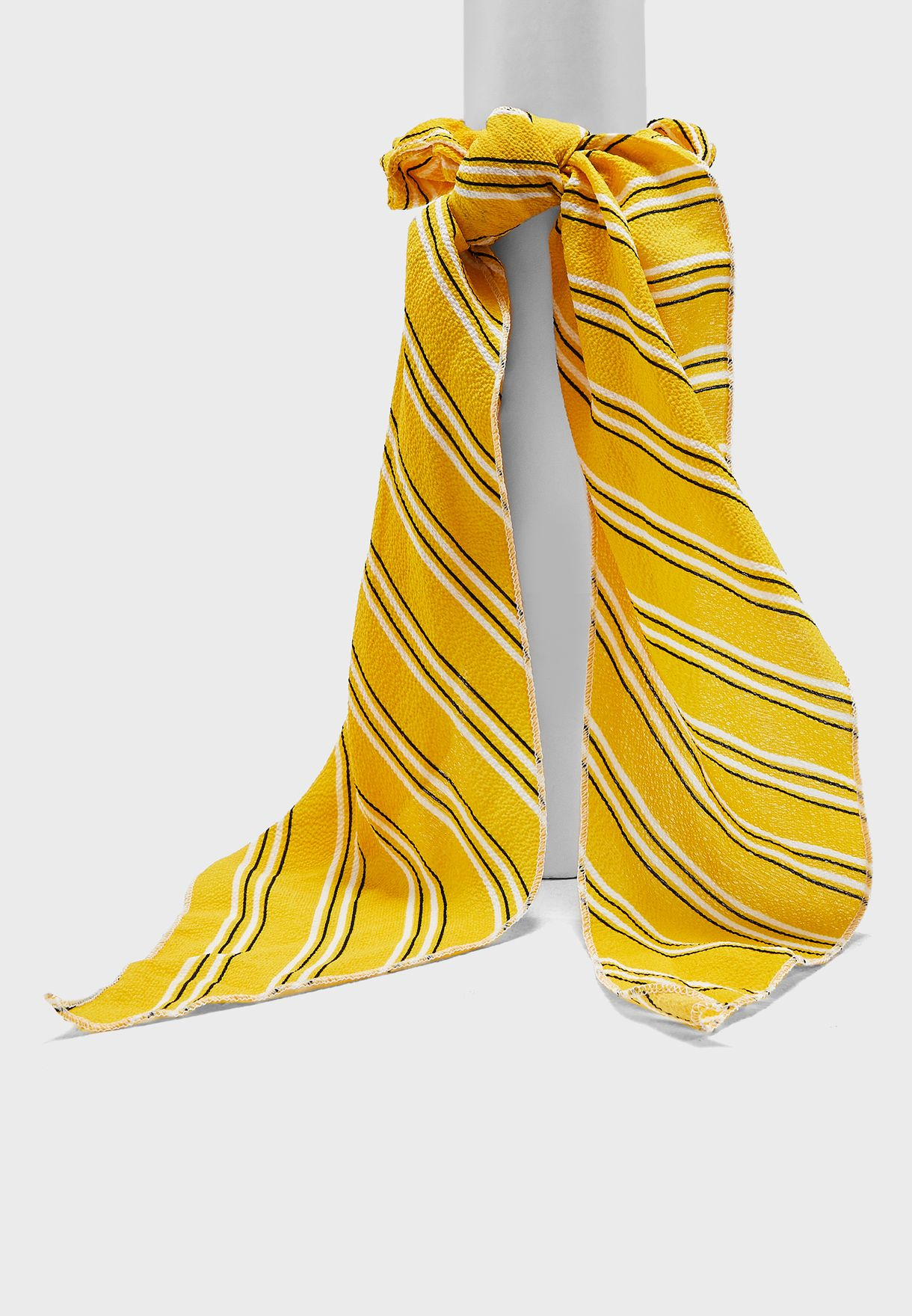 Fabric Tie Scrunchie - Navy& Yellow