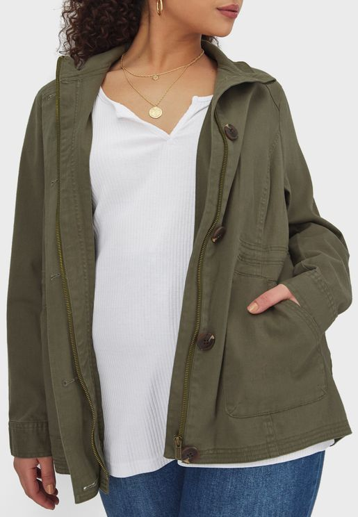 Roll Sleeve Button Down Jacket