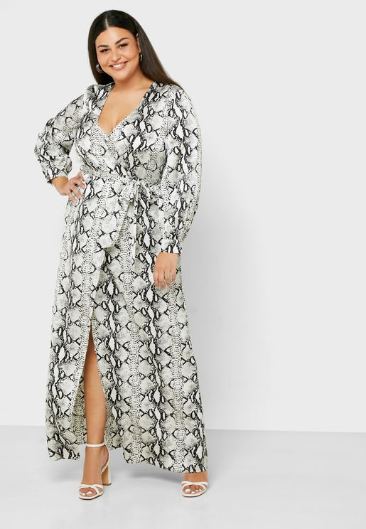 Snake Print Tie Waist Front Split Dress