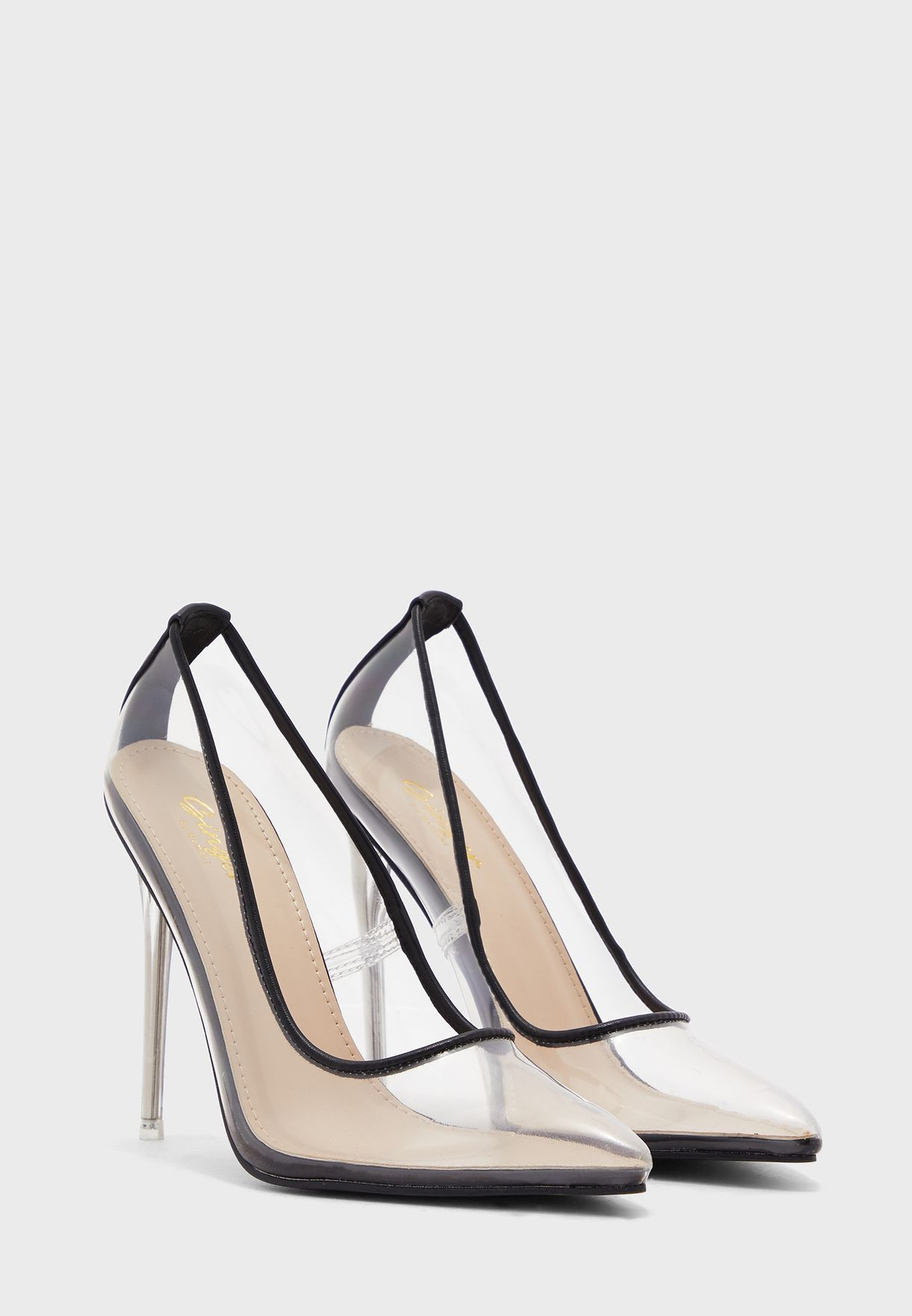 Clear Pointed Stiletto Heel Pumps With Trim