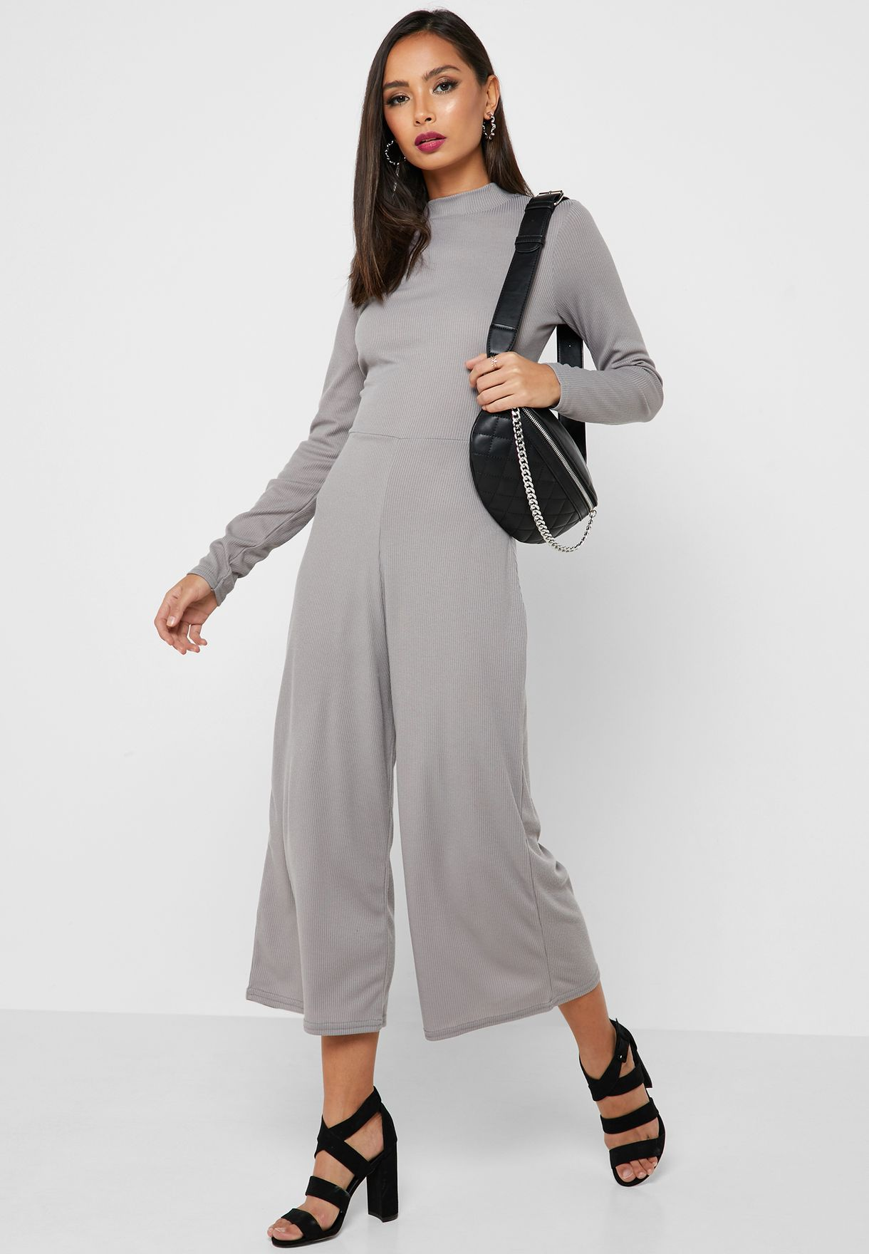 8e87331761fe Shop Missguided grey High Neck Ribbed Culottes Jumpsuit M9905486 for ...