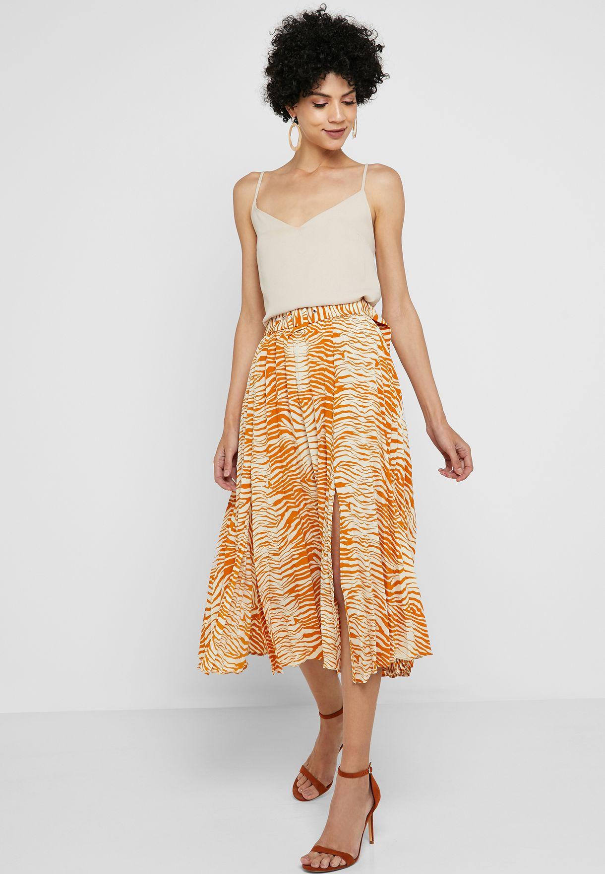 50% off enjoy free shipping superior quality Zebra Print Belted Midi Skirt