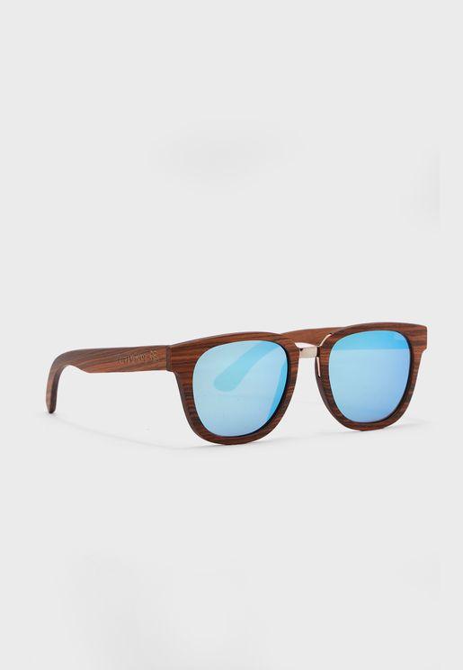 نظارة شمسية كبيرة بإطار خشبي