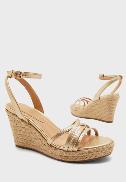Multi-Strap Metallic Wedge Sandal
