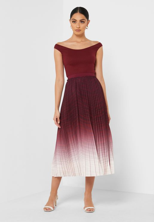 Poliina  Pleated Ombre Skirt