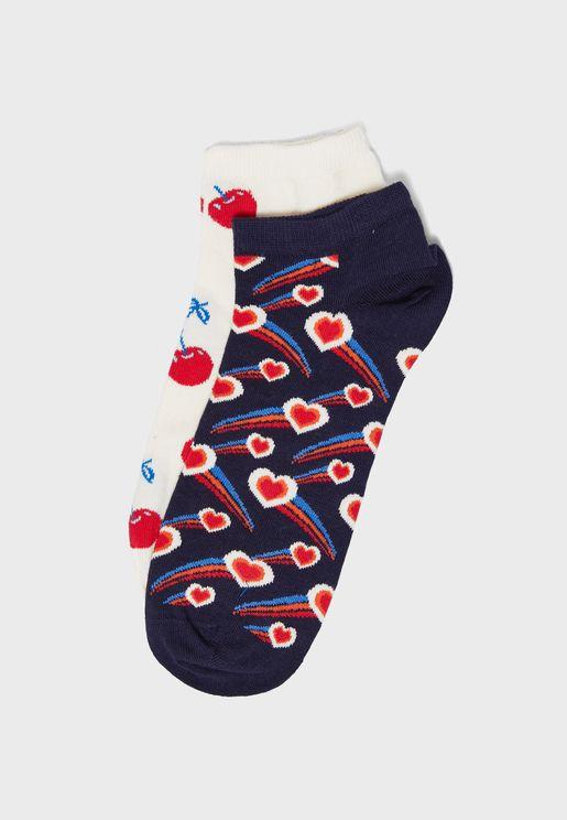 2 Pack Shooting Heart Ankle Socks