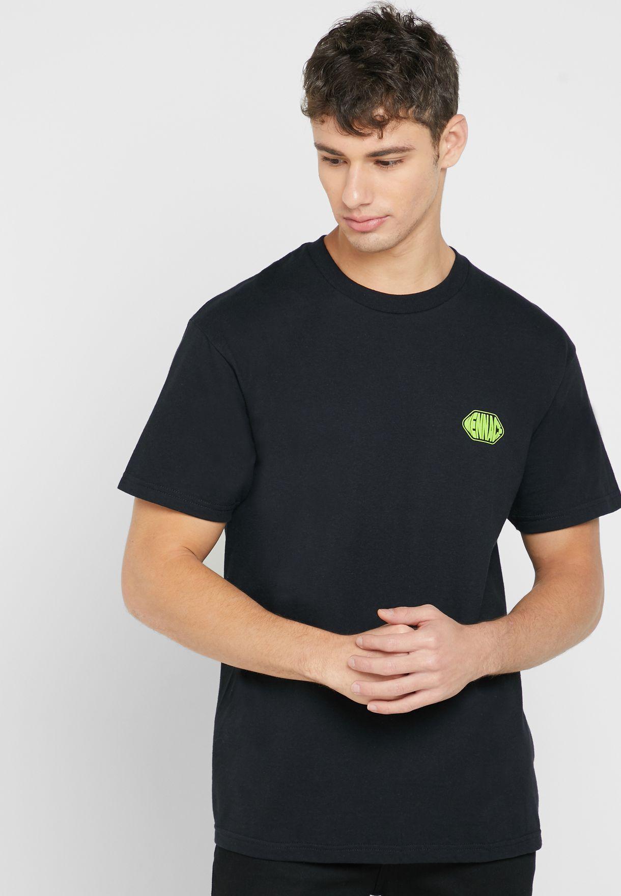 Font Back Print Crew Neck T-Shirt