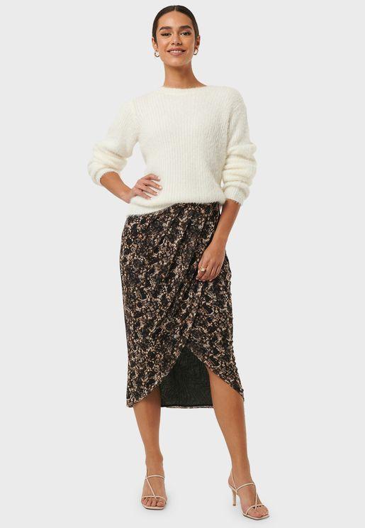 Printed Overlap Mesh Skirt
