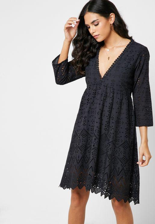 V-Neck Irregular Hem Lace Dress