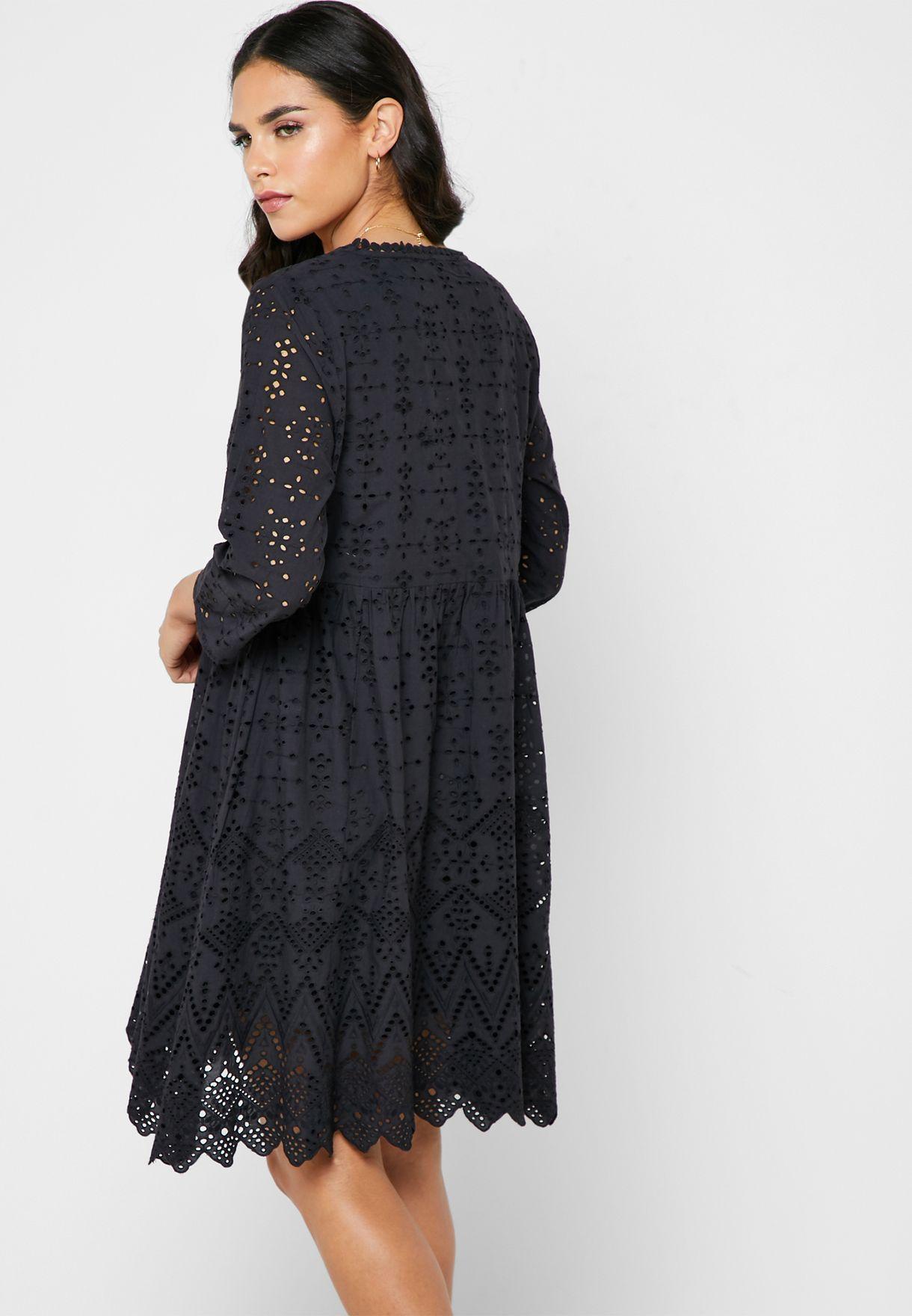 Vila V-neck Irregular Hem Lace Dress - Fashion
