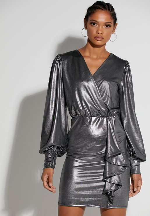 Metallic Wrap Front Mini Dress