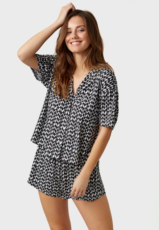 Houndstooth Top & Shorts Pyjama Set