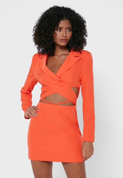 Cross Front Strappy Blazer Dress