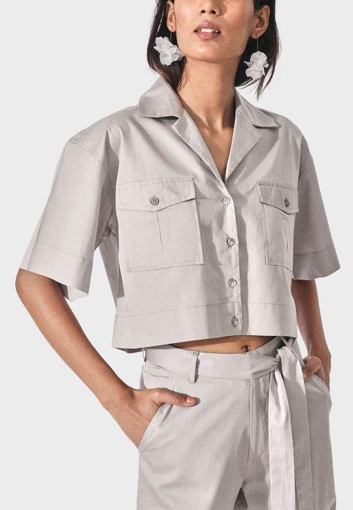 Wide Sleeve Crop Shirt