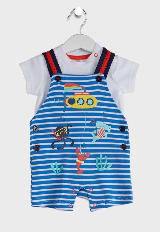 Infant Essential T-Shirt + Striped Dungaree Set